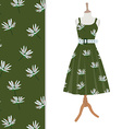Dress with flower pattern vector image