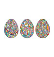 easter eggs set background hand drawn vector image vector image