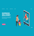 express delivery isometric fast delivery vector image vector image