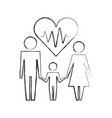 family and medical heartbeat healthcare pictogram vector image vector image