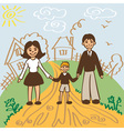 family for walk in summer vector image