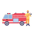 firefighter with axe and fire truck vector image