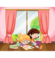Girls reading book vector image vector image