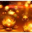 Golden lotus shaped diya on abstract Diwali vector image vector image