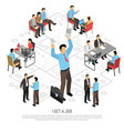 got job isometric composition vector image vector image