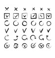 hand drawn tick marks checklist signs doodle vector image