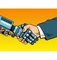 Handshake of robot and man New technologies vector image vector image