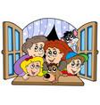 happy family in open window vector image