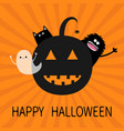 happy halloween smiling pumpkin face silhouette vector image