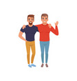 happy smiling young men friends standing together vector image vector image