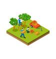 isometric gardening farmers plantation vector image vector image
