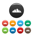 large mountain icons set color vector image vector image