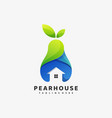 logo pear house gradient colorful style vector image