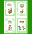 merry christmas happy winter holidays celebration vector image vector image