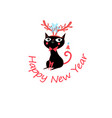 new year greeting card with funny cat vector image