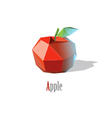 polygonal red apple with leaf modern low poly icon vector image vector image