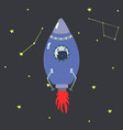 purple space shuttle with cute cartoon style dark vector image vector image
