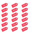 red discount tags set vector image vector image