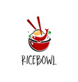 rice bowl icon with chopstick vector image vector image