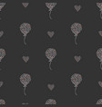 seamless heart air balloon pattern on dark vector image vector image