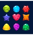 set bright jelly figures with bubbles colorful vector image vector image