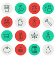 set of 16 planting icons includes garden clothes vector image vector image