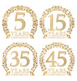set of golden anniversary seals fifth fifteenth vector image