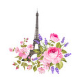 the eiffel tower card vector image