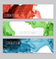 three colored banners with abstract alcohole ink vector image vector image