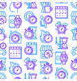 time seamless pattern with thin line icons vector image vector image