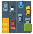 urban traffic on highway top view flat vector image vector image