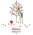 valentine day card with cute rabbit vector image vector image