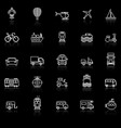 vehicle line icons with reflect on black vector image