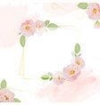 watercolor pink roses with golden frame square vector image vector image