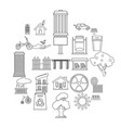 wind energy icons set outline style vector image