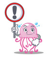 with sign cute jellyfish character cartoon vector image