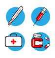 medicine and health symbols thin lines web icon vector image