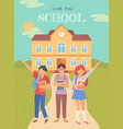 back to school students with satchels and books vector image vector image