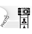 black camera and film with icons on a white vector image vector image