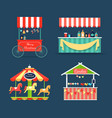 bright fair counters and funny merry-go-round set vector image
