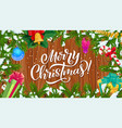 christmas tree frame with xmas gifts and bell vector image vector image