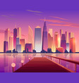 city skyline panoramic view from waterfront pier vector image vector image