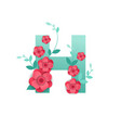 color letter h with beautiful flowers vector image vector image