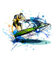 Colored hand sketch rider on a jet ski vector image vector image
