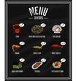 Colorful menu of seafood and delicacies on the vector image vector image