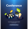 conference poster of isometric color design vector image vector image