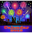 cover of calendar with fireworks vector image vector image