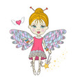 cute fairy with magic wand vector image