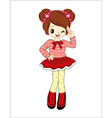 cute little girl anime with red sweater vector image