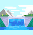 dam hydro power plant in flat style vector image